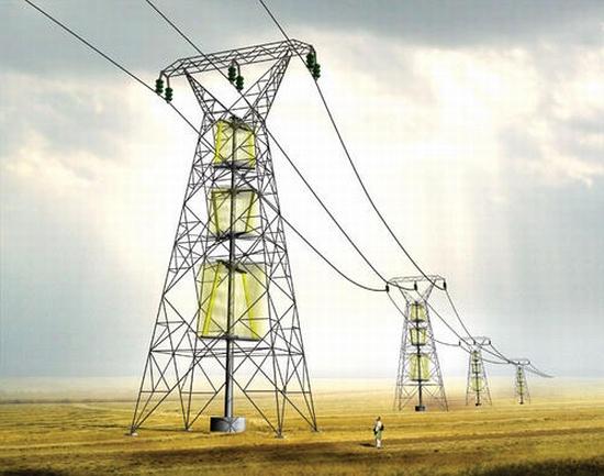 Mohou stožáry elektrického vedení fungovat zároveň jako větrné elektrárny?