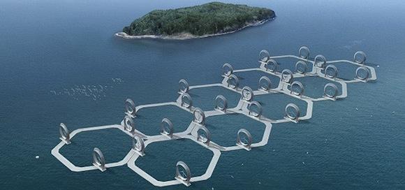 větrná energie - větrná farma, větrné turbíny Japonsko
