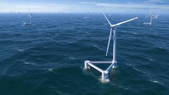 větrné turbíny - WindFloat - Principle Power - větrná turbína na moři - plovoucí plošina