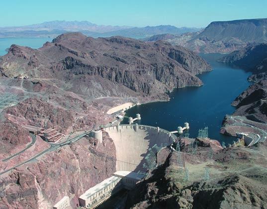 vodní elektrárny - přehrada Hoover Dam Ariel
